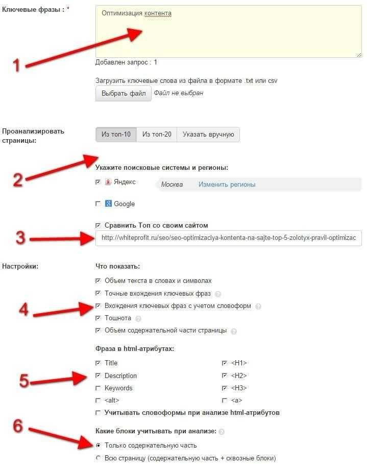Оптимизация контента сайта и его структура